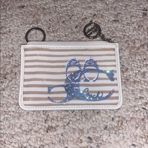 COACH white and tan wallet with keychain